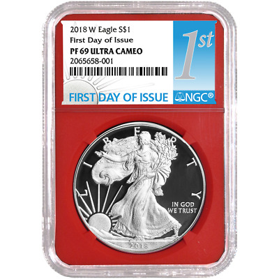 2018-W Proof $1 American Silver Eagle NGC PF69UC FDI First Label Red Core