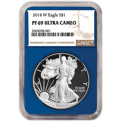 2018-W Proof $1 American Silver Eagle NGC PF69UC Brown Label Blue Core