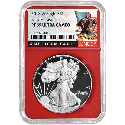 2018-W Proof $1 American Silver Eagle NGC PF69UC Black ER Label Red Core