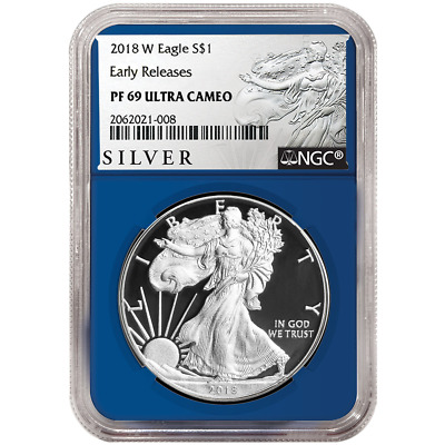 2018-W Proof $1 American Silver Eagle NGC PF69UC ALS ER Label Blue Core