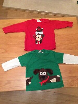 2 Baby Boy Blue zoo Long Sleeve Tops 3-6 Months