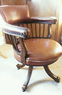 Antique Leather Captains Swivel Office Chair in Tan Brown