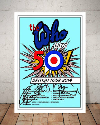 Roger Daltrey The Who 50 Hits 2014 Concert Flyer Autographed Signed Photo Print