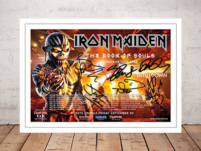 Iron Maiden Book Of Souls  2017 Concert Flyer Signed Photo Print - 2