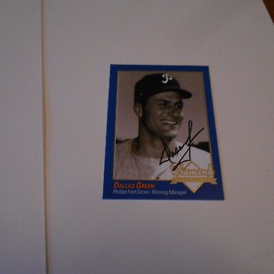 Dallas Green was an former MLB player + manager Hand Signed Baseball Card
