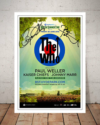 The Who Hyde Park London 2015 Concert Flyer Autographed Signed Photo Print