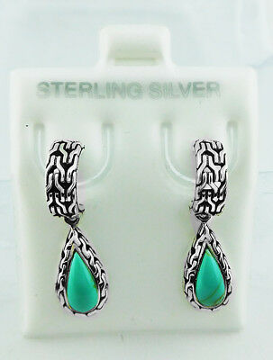GENUINE 1.67 Cts TURQUOISE Studs Dangling EARRINGS .925 Sterling Silver
