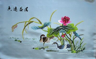 Vintage Japanese Oriental Hand Embroidered Silk Picture Unframed Ducks on Water