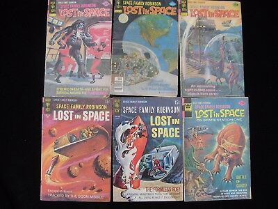 Lost in Space Vintage Comic Lot 6 Issues 1968-1976 Family Robinson Gold Key TV