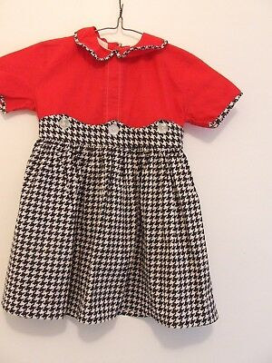 Vintage clothing, children's dress, maybe size 4-6, Red/black, looks handmade