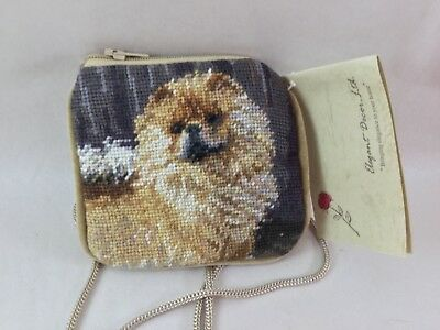 chow chow needlepoint coin purse