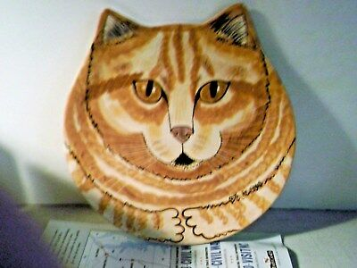 NINA LYMAN Cat Plate Cats by NINA Cat Head Shaped Collectors Plate Golden Cat
