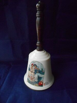 "1985 Gorham Fine China Hand Bell Norman Rockwell ""Yarn Spinner"""