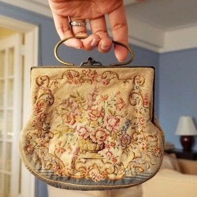 Antique genuine petite point needlepoint evening bag - made in Austria