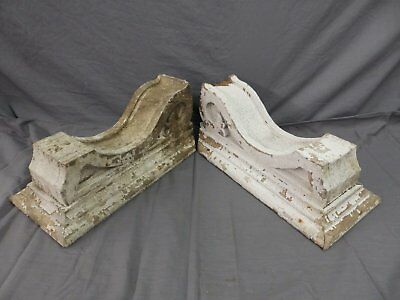 Large Pair Antique Corbels Roof Brackets Victorian Shabby Shelf Vtg Chic 501-17P