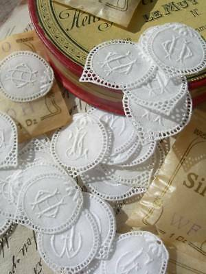 Hoard 90 antique French intertwined monogram appliques in tiny envelopes 1900