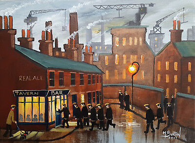 """Mal..burton Original Art Oil Painting """" End Of Shift Time For A Beer"""