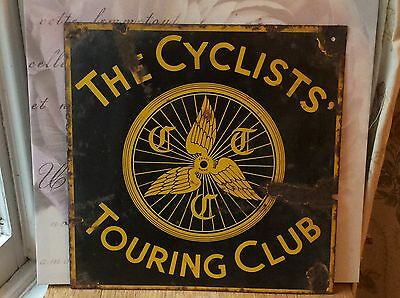 """The Cyclists Touring Club"" vintage enamel sign. Original 16"" x 16"""