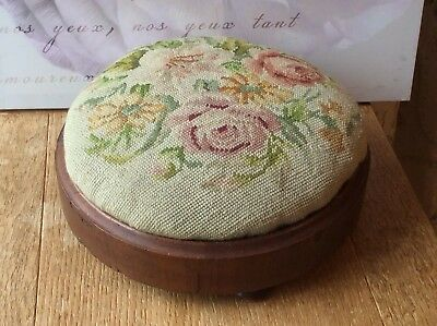 Antique Victorian Footstool With Tapestry / Needlework Top. 12""