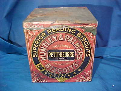 Early 20thc HUNTLEY + PALMER Advertising BISCUIT TIN w Orig PAPER LABELS