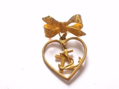 Vintage 1940's Gold Tone Sweetheart Navy Cross & Anchor Heart Charm Brooch
