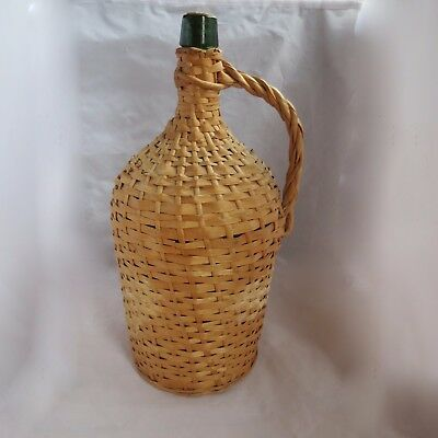 Antq Vtg Lrg Demijohn Wicker Wood Splint Wrapped green glass bottle Handle Jug
