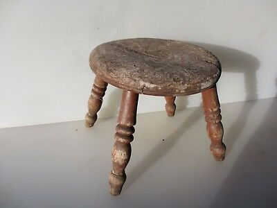 Vintage Wooden Stool Bench Seat Children Kids Step Farmhouse Old Oak Wood