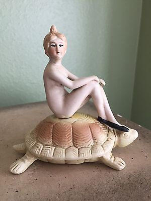 Antique Bisque Nude Bathing Beauty Sunning On A Turtle