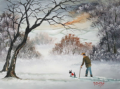 "Mal..burton Original Art Oil Painting "" You Got Your Winter Coat On Today Boy"