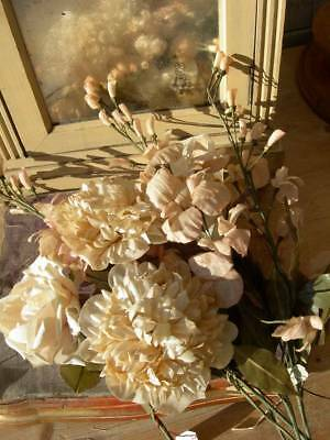 Bouquet 8 stems antique French 1890s wax paper & cotton fabric convent flowers