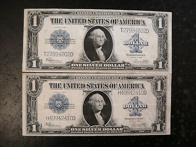 Pair (2) United States 1923 Large $1 Siver Certificates. Fine to Very Fine.