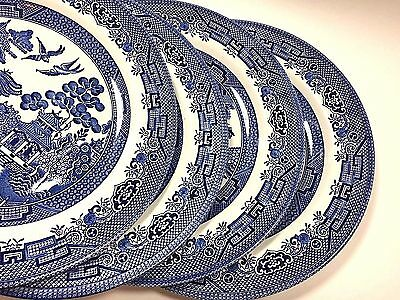 Churchill Blue Willow Dinner Plates Set of 4 Four English Pottery Tableware