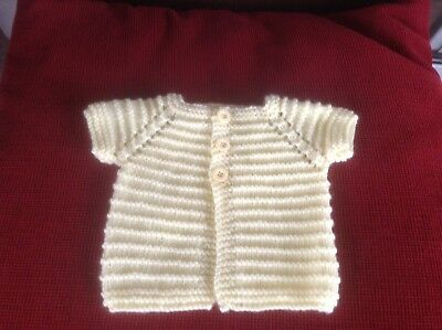 Hand Knit Short Sleeved Baby Cardigan. Newborn. Duck Yellow.  3 Buttons.