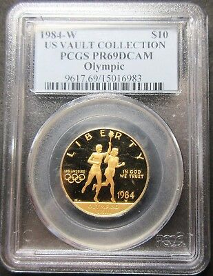 1984-W Proof U.s. Vault Collection Olympic Ten Dollar Gold Coin Pcgs Pr 69 Dcam