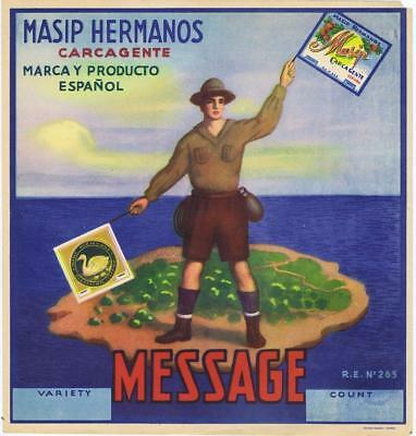Message Boy Scouts sending flag signaling  original Spanish Melon Crate label