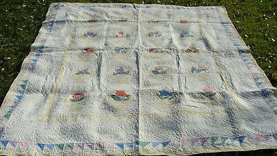 "dated 1932 all hand quilted applique Flower Basket  quilt 89"" x 77"" *"