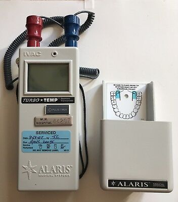 ALARIS IVAC Turbo TEMP Thermometer w/ Probe + Case 2180CX01EE Working!!!