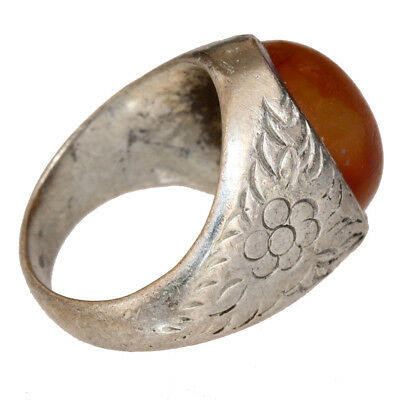 Intact Late Medieval Near Eastern Billon Decorated Silvered Ring With