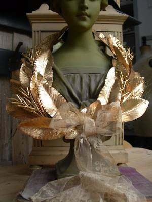 Antique Belgian convent wreath - gold leaves & handmade lace 1890s