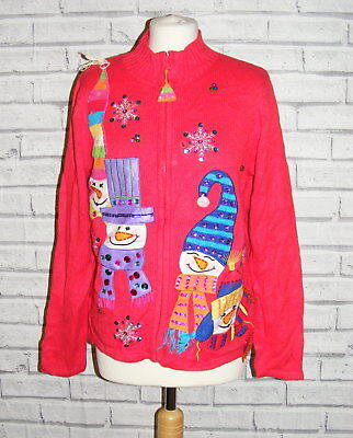 womens ugly christmas jumper cardigan vintage UK 16-18 appliqué embroidered IN49
