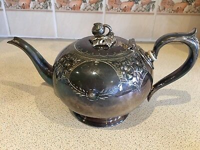 Silver Plated Strawberry Design Teapot WWH&Co