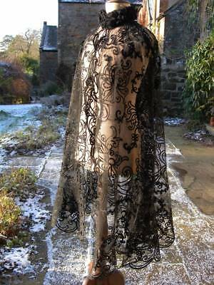 Exquisite hand embroidered soutache silk ribbon on tulle lace cape 1880s