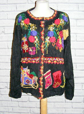 womens ugly christmas jumper cardigan vintage UK 22-24 embroidered floral IN54