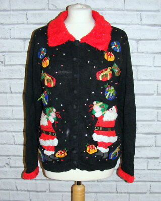 womens ugly christmas jumper cardigan vintage UK 18-20 appliqué embroidered IN55
