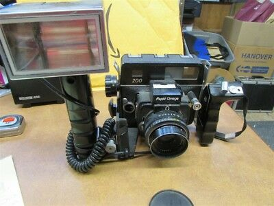 Rapid Omega 200 Camera With 220 Film Back + Flash A-35