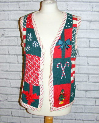 ugly christmas jumper waistcoat vintage UK 14-16 appliqué embroidered green IN62