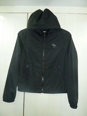Boy's/Unisex Black Hooded Jacket by Abercrombie & Fitch in Size S Age 10 Years