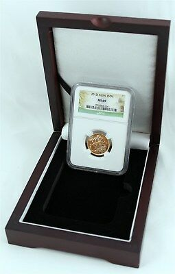 2013 India Gold Sovereign Commemorative Coin AGW .23355 NGC MS 69