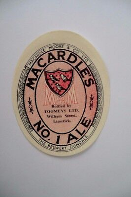 MINT MACARDLE'S No1 ALE BOTTLED BY TOOMEYS LIMERICK BREWERY BEER BOTTLE LABEL