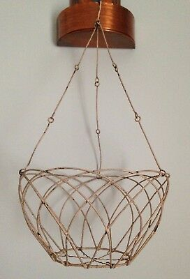 WOW Vintage HANGING METAL WIRE BASKET PLANTER French Cottage Garden Shabby Chic